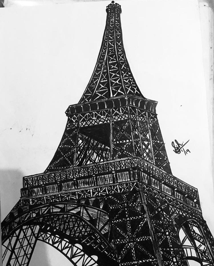 Eiffel Tower art. Pointer on A4 paper 1E594645-9A48-40C9-8B44-89A24AA25D2E
