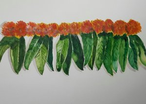 Leaves.. This is called the ' toran '..a door hanging , generally made with marigold and