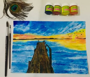Dock and sunset! Medium: Arcylic on A47114DED6-6032-4F64-A3A4-96ABED66AC15