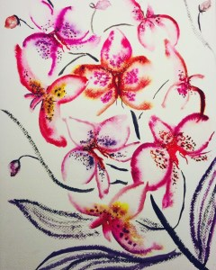 Orchid Meditation, inspired by Kris Keys and painted listening to Max Richter's playlist on Spotif