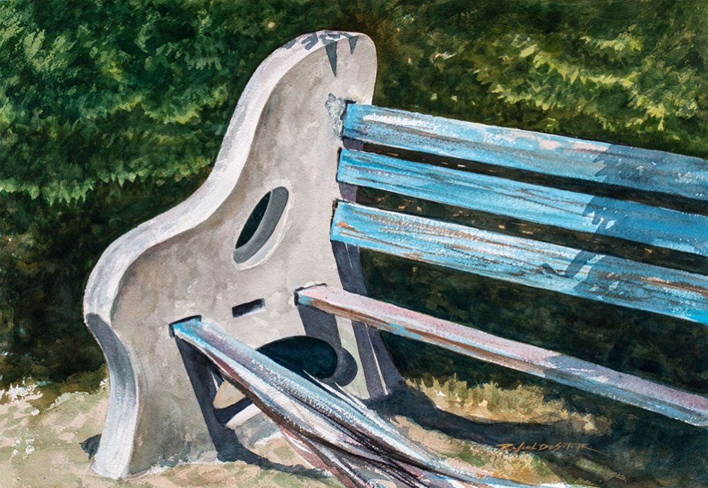 Watercolor painting by broken park bench by Rafael DeSoto Jr