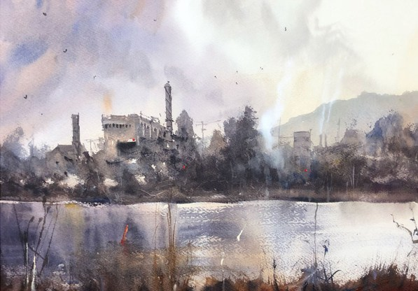 City Sky On Water Watercolour Painting by Tony White