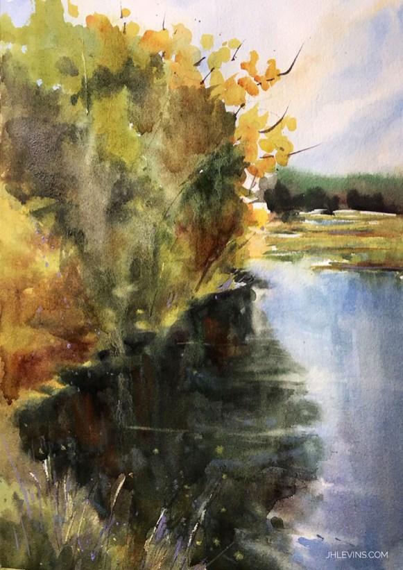 Darkwater Watercolor Painting by Judith Haynes Levins
