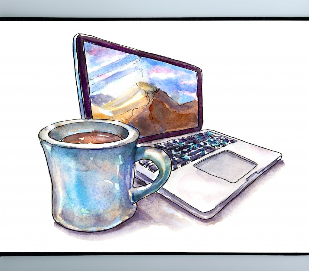 Laptop And Coffee Watercolor Illustration Sketchbook Detail