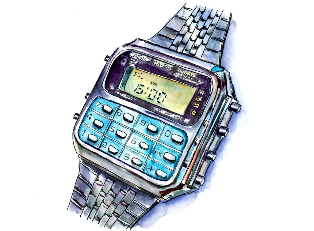 Calculator Watch Casio Watercolor Illustration