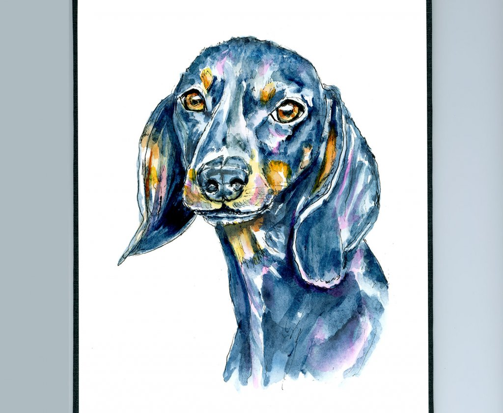 Dog Pet Portait Black Watercolor Illustration Sketchbook Detail