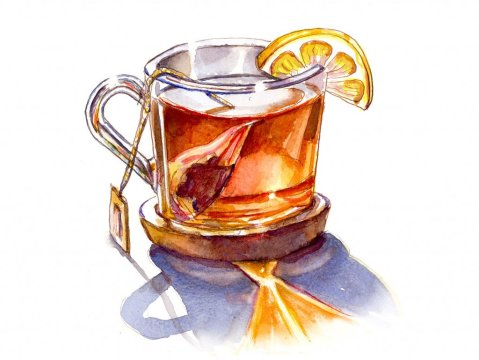 Tea With Lemon Watercolor Illustration