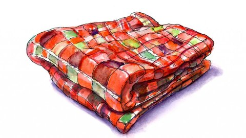 Fall Blanket Watercolor Illustration