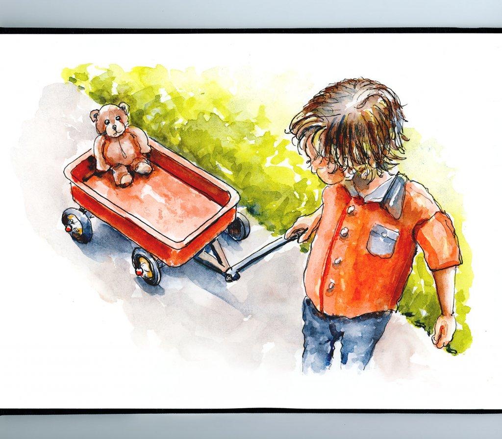 Little Boy Wagon Teddy Bear Watercolor Illustration Sketchbook Detail