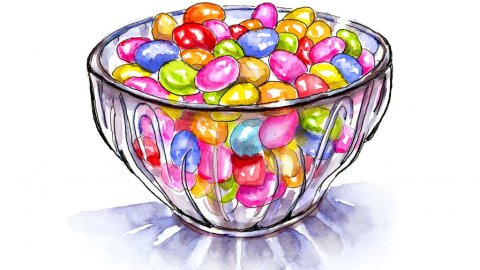 Candy Bowl Jelly Beans Watercolor Illustration