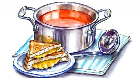 Tomato Soup Grilled Cheese Watercolor Illustration