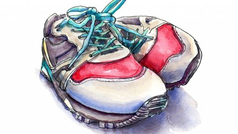 Sneakers Shoes Watercolor Illustration