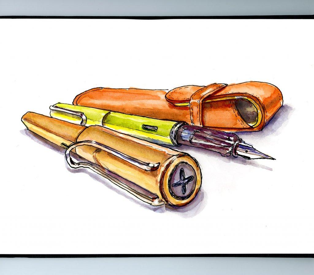 Fountain Pen Watercolor Illustration Sketchbook Detail