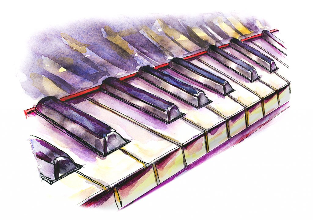 Piano Keys Watercolor Illustration