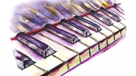 Piano Keys Watercolor Illustration