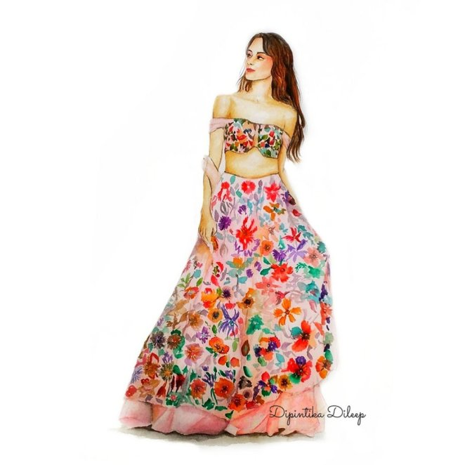 Fashion Long Dress Watercolor Illustration by Dipintika Dileep