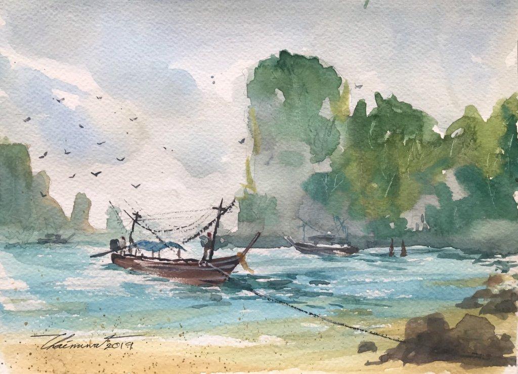Title : Krabi seaside. Technique : Watercolor on paper 300gsm. Size : 29cm. x 21cm. Artist : Chainuw
