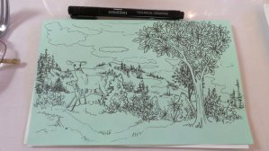 Another of the doodles I did while having breakfast with Mom. This one's a landscape of my ima