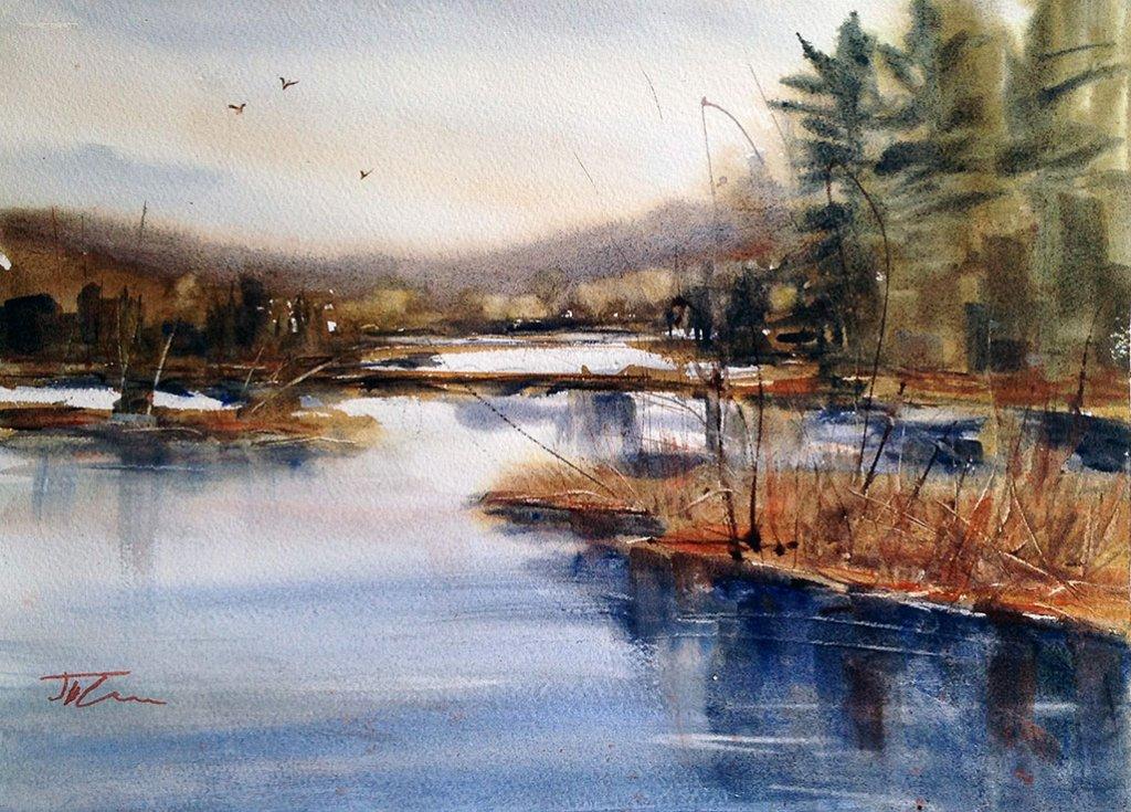Where Peaceful Waters Flow Watercolor Painting by Judith Haynes Levins