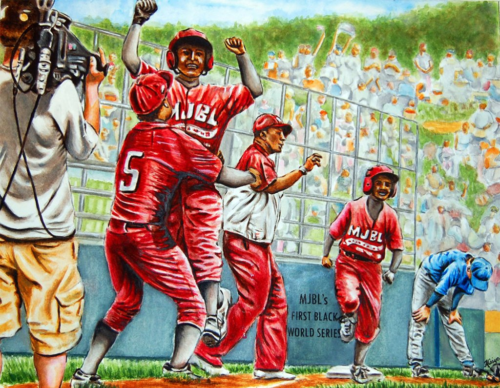 Metropolitan Jr Baseball League First Black World Series Watercolor by Alaiyo Bradshaw