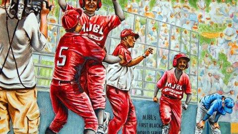 Metropolitan Jr Baseball League First Black World Series Watercolor by Alaiyo Bradshaw