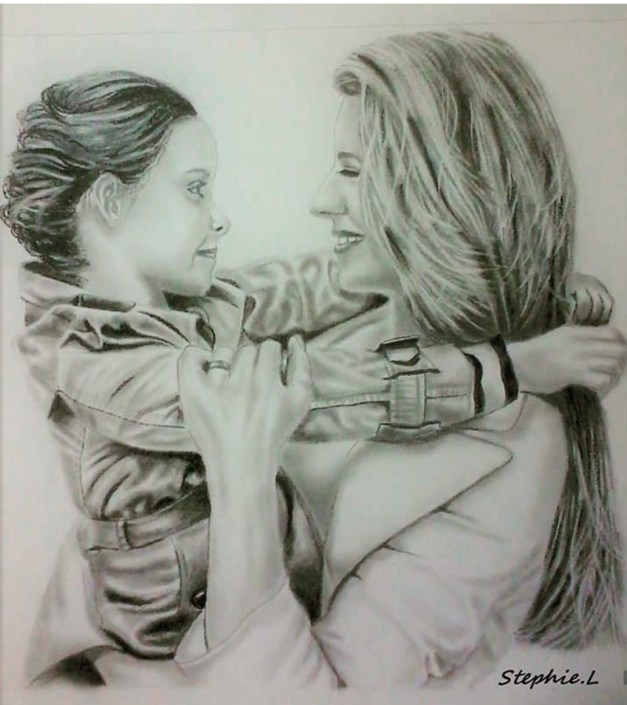 Mom Daughter Portrait Illustratin by Stephanie Louise