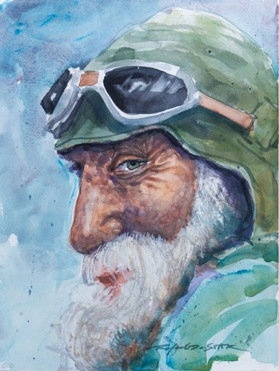 Old Pilot Watercolor Portrait