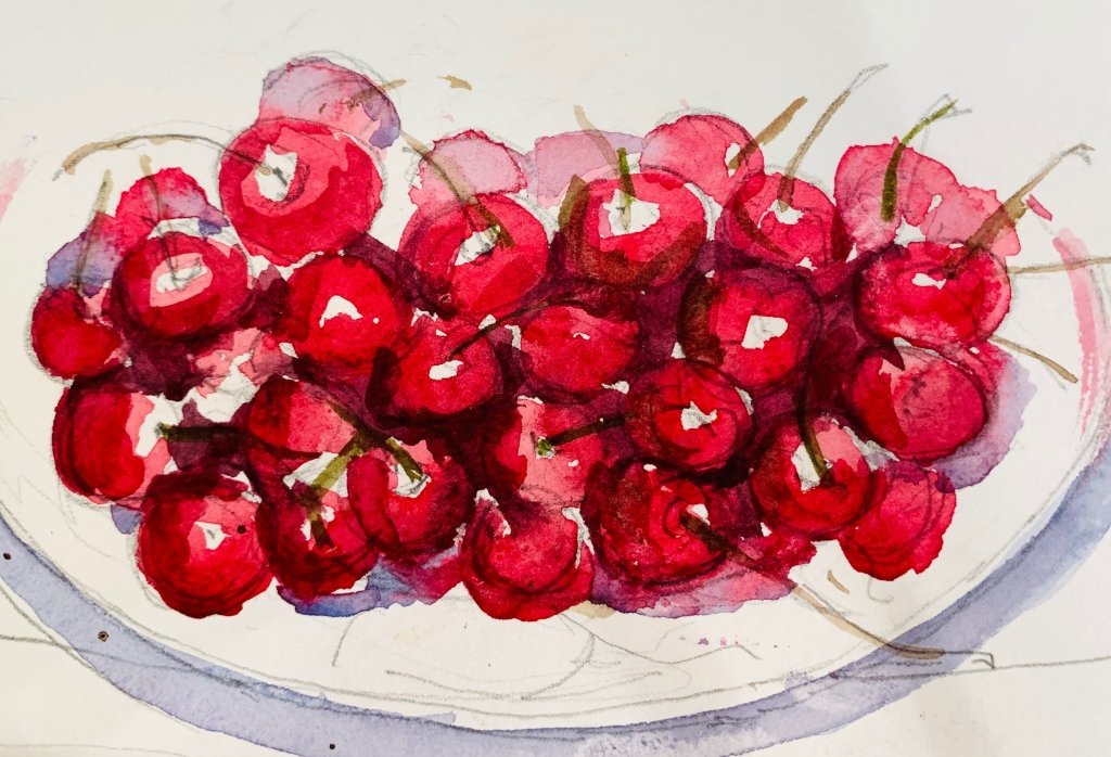 "Cherry morning. Sketchbook watercolor – 7″x 10 "" Print (3)"