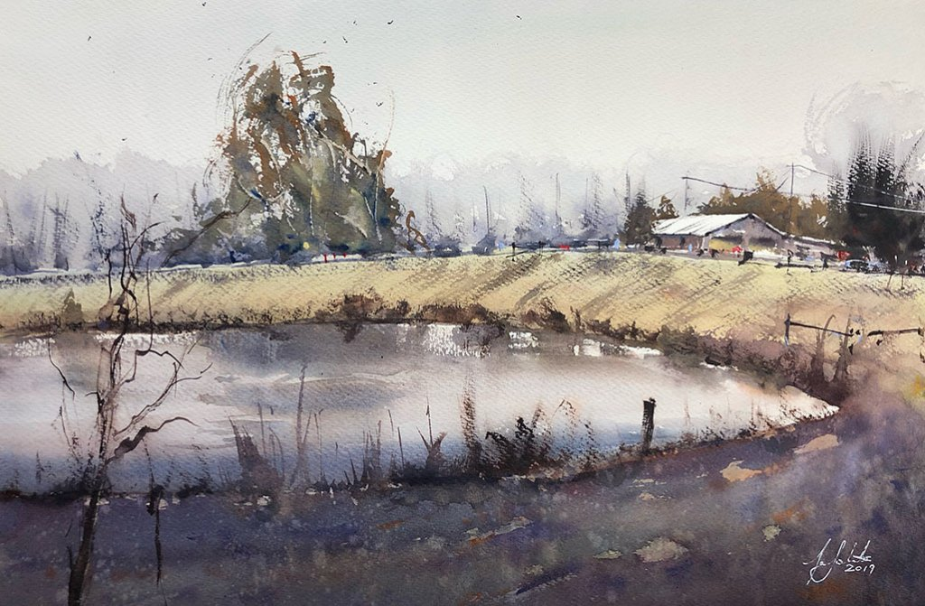 Rural Landscape Watercolour Painting by Tony White