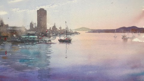 Seascape Watercolour Painting by Tony White