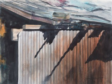 Shadows On Corrugated Metal Water color Painting