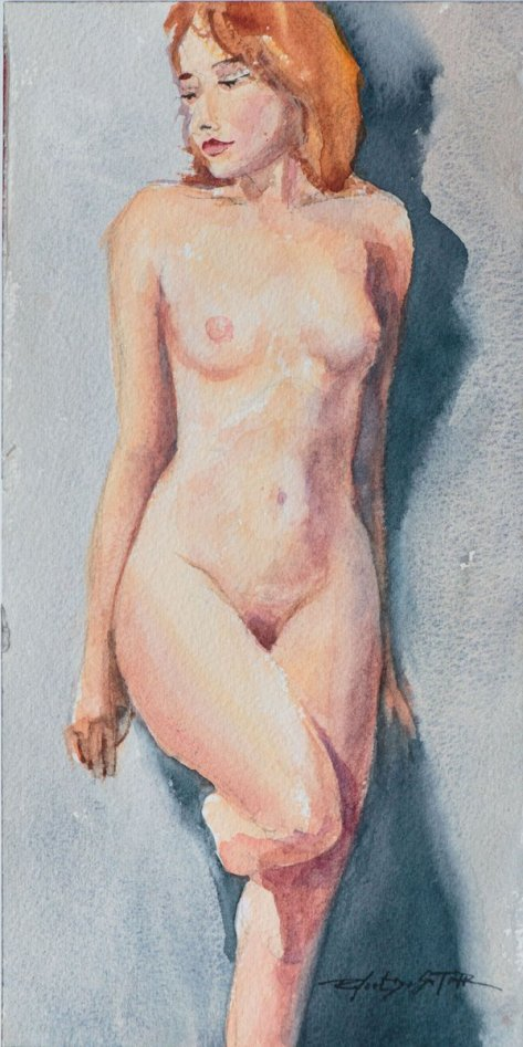 Standing Female Nude Watercolor colour painting