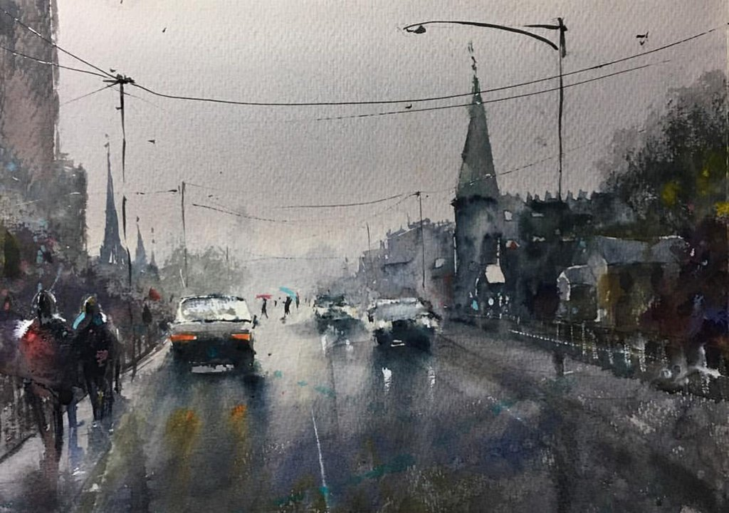 Street Scene Watercolour Painting by Tony White