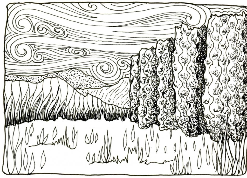 Tanglescape 02- Got another breakfast doodle done this morning. Zebra Technical Pen on Hahnemühle N