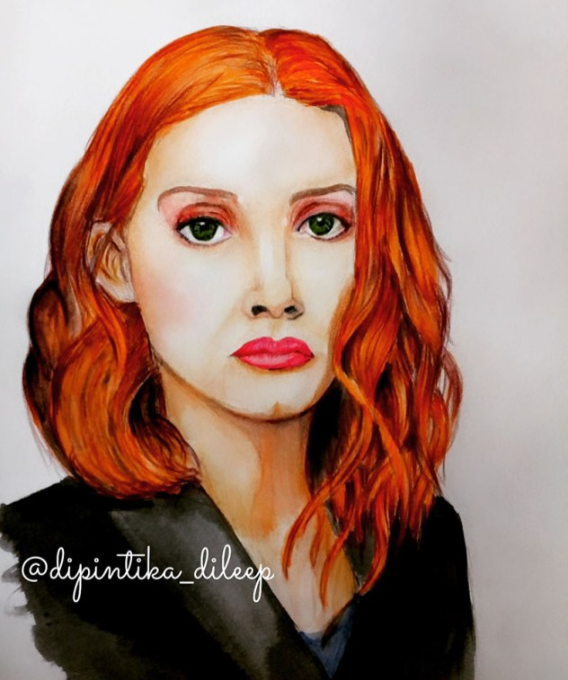 Watercolor Portrait Woman Red Hair by Dipintika Dileep