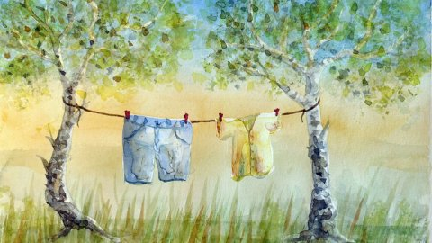 byxa Clothesline watercolour painting by Ilse Hviid