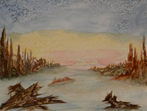 World Watercolor Group™ DESERTED PLANET Started on a course called Outer Limits. done in wate