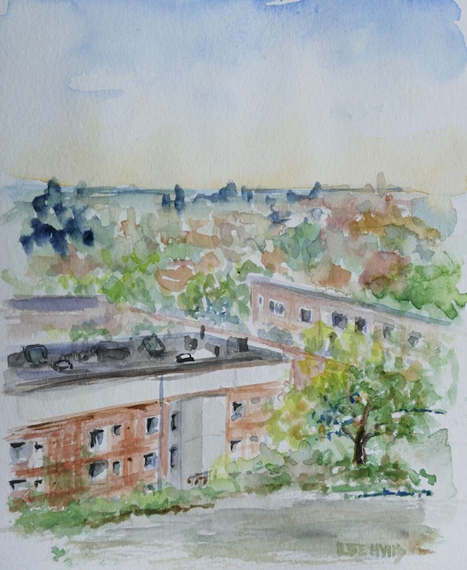 hallingsgatan watercolour painting by Ilse Hviid
