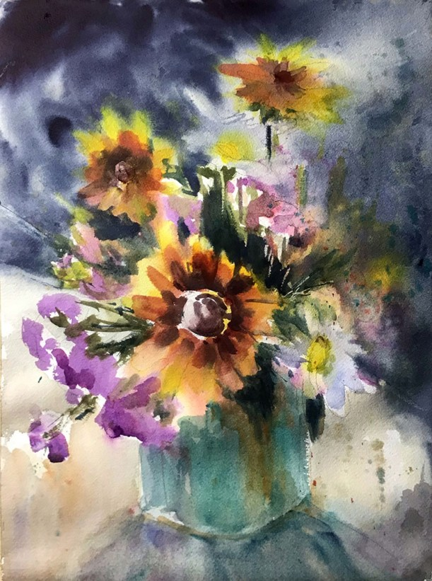 Summer Floral Watercolor Painting by Judith Haynes Levins