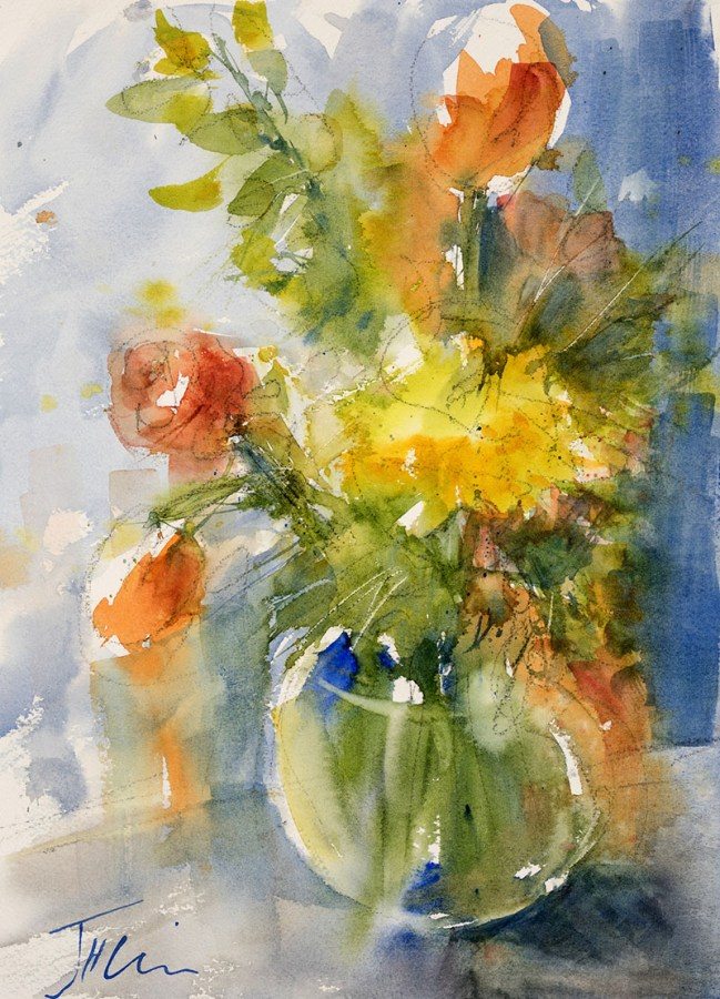 Tulip Impression Watercolor Painting by Judith Haynes Levins