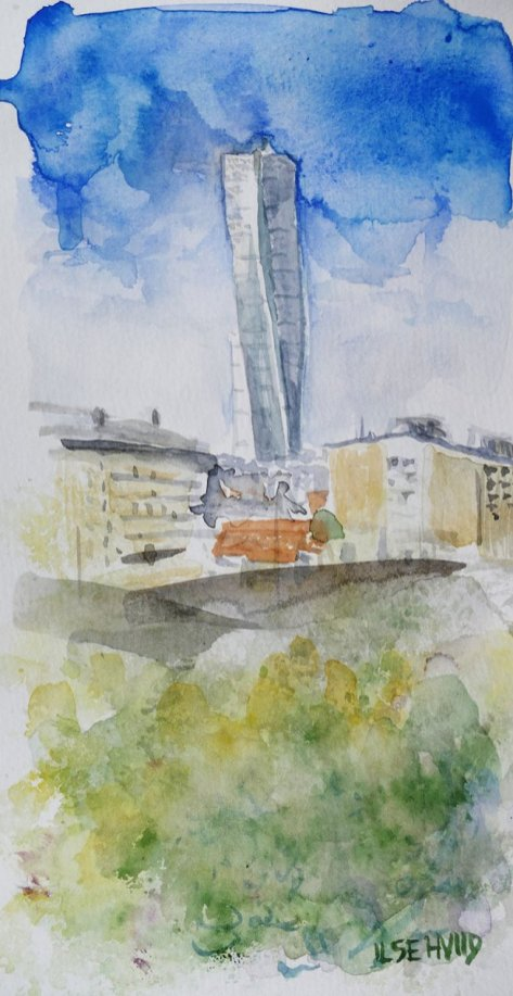 turning torso watercolour painting by Ilse Hviid