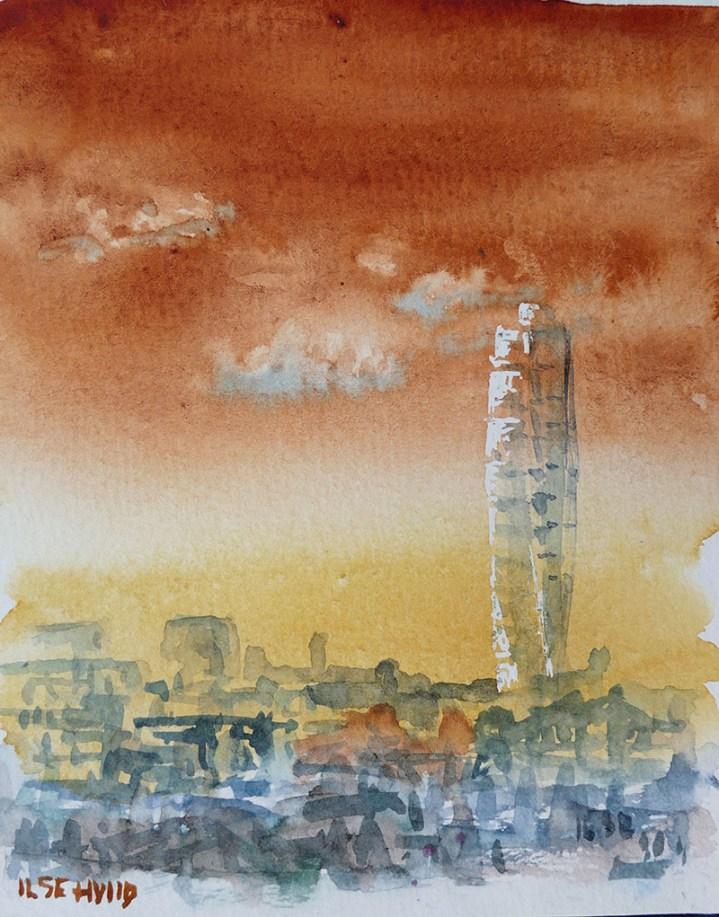 utsikt watercolour painting by Ilse Hviid