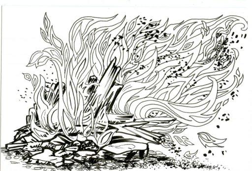 Bonfire Ash for Inktober #Inktober2019 #ZebraPenUS #ZensationsChallenge #DoodlewashOctober2019 #Hahn