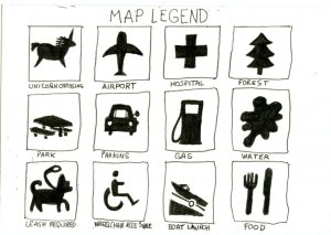 Unicorn Legend for Inktober – any map I ever draw has to have a Unicorn Crossing in the legend