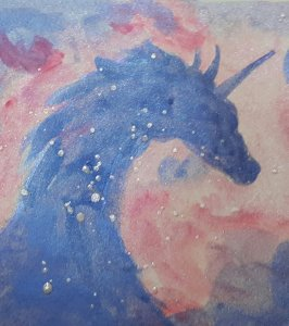Unicorn.. with metallic paints ( and for some reason, the purple is seen as blue in the pic) 2019101