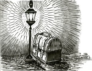 Treasure Lantern for Inktober-Zebra Brush & Technical Pen on Hahnemühle Nostalgie Postcard #Doo