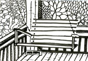 Porch Swing for Inktober #Inktober2019 #ZebraPenUS #ZensationsChallenge #DoodlewashOctober2019 #Hahn