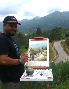 Photo of Abey Zoul painting plein air