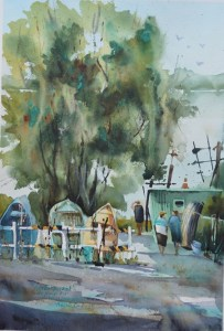 """This is """"Green Bucket"""" painted en plein air at one of my favourite local river spots &#8"""