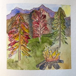 """60/100: Prompt: Forest & Bonfire """"And all the lives we ever lived and all the lives to be are"""